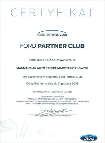 Certyfikat Ford Części Sklep 2016