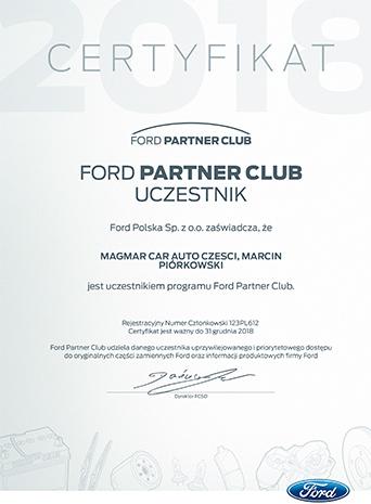 Certyfikat Ford Części Sklep 2018