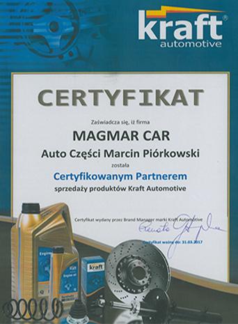Certyfikat Kraft Ford Części Sklep